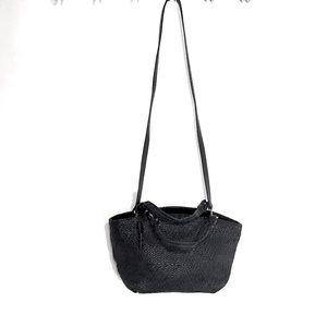 Fossil Handbag Black Crossbody Satchel Basket Weav